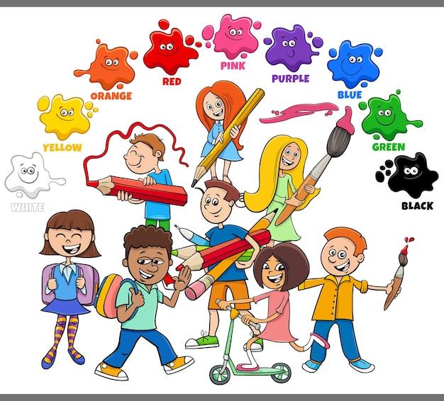 Colori di base per bambini con alunni o studenti dei cartoni animati