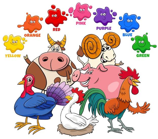 Colori di base per bambini con gruppo di personaggi di animali da fattoria