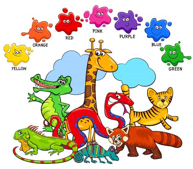 Colori base imposta pagina educativa per bambini