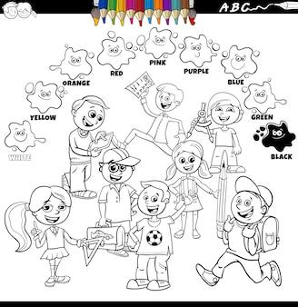 Colori di base con gli alunni gruppo di bambini pagina del libro da colorare