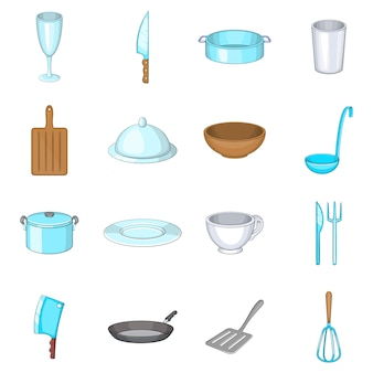 Set di icone di piatti di base