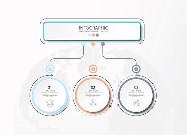 Modello infografico di base con 3 passaggi, processo o opzioni, diagramma di processo, utilizzato per diagramma di processo, presentazioni, layout del flusso di lavoro, diagramma di flusso, infografica. illustrazione di vettore eps10.