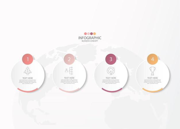 Modello di infografica di base con 4 passaggi, processo o opzioni