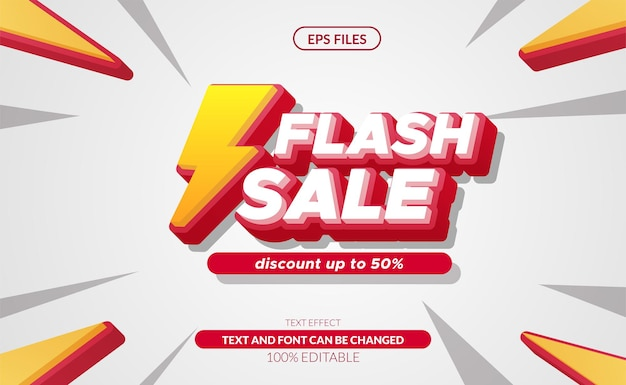 Vendita base rgbflash effetto testo modificabile 3d con simbolo tuono. banner di offerta di sconto di grande vendita. file vettoriale eps
