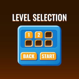 Interfaccia pop-up di selezione del livello dell'interfaccia utente di gioco rgbfunny di base