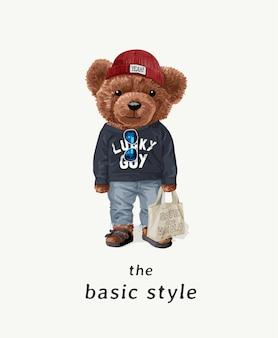 Slogan di stile di base con il giocattolo dell'orso nell'illustrazione del costume di moda di strada