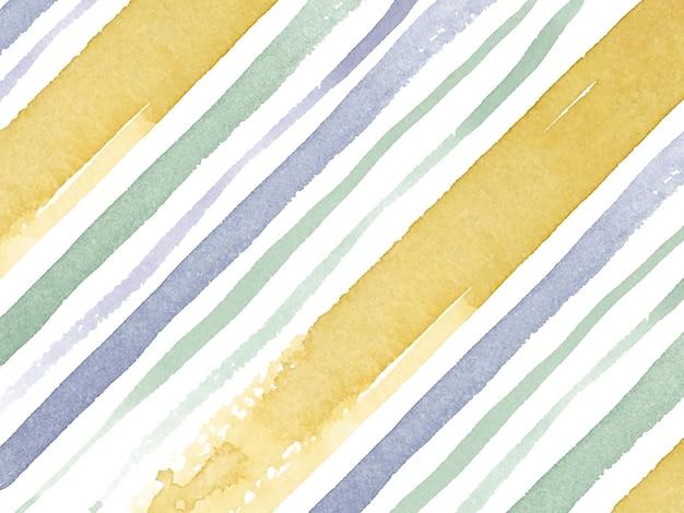 Carta da parati di base dell'acquerello diagonale a strisce gialle e verdi viola di base