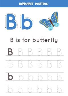 Pratica di scrittura di base per i bambini dell'asilo. foglio di lavoro per tracciare l'alfabeto con tutte le lettere az. tracciando la lettera b con farfalla simpatico cartone animato. gioco di grammatica educativa.