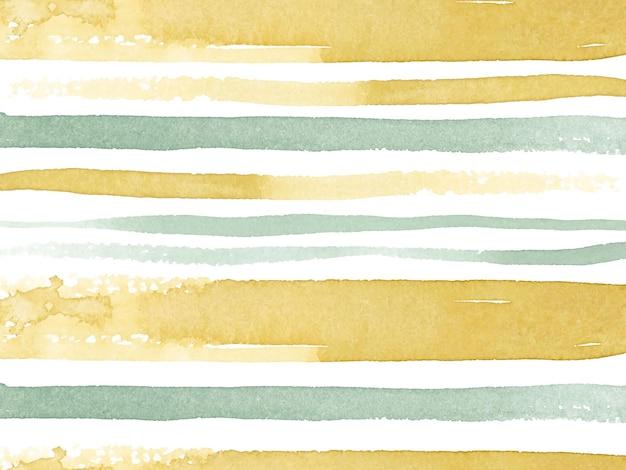 Carta da parati di base dell'acquerello a strisce gialle e verdi