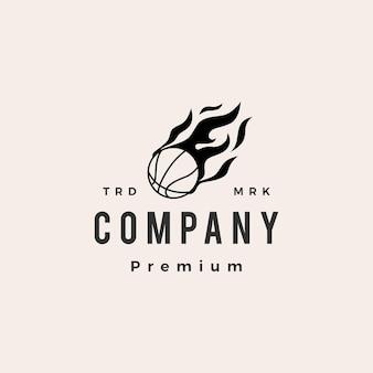 Modello di logo vintage di pallacanestro fuoco fiamma hipster