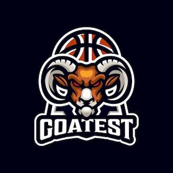 Modello logo mascotte sport di squadra canestro capra basket