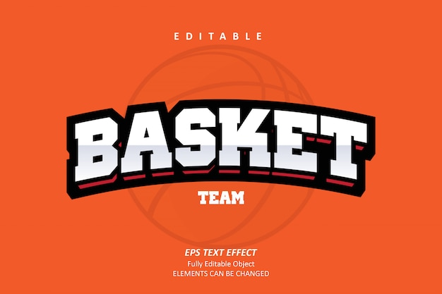 Basket team orange editable text effect