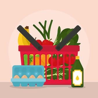 Cesto con spesa e verdure