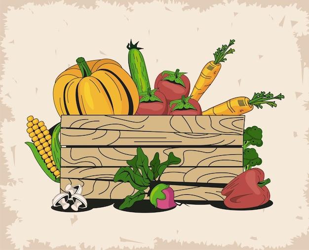Cesto con gruppo di icone di verdure biologiche