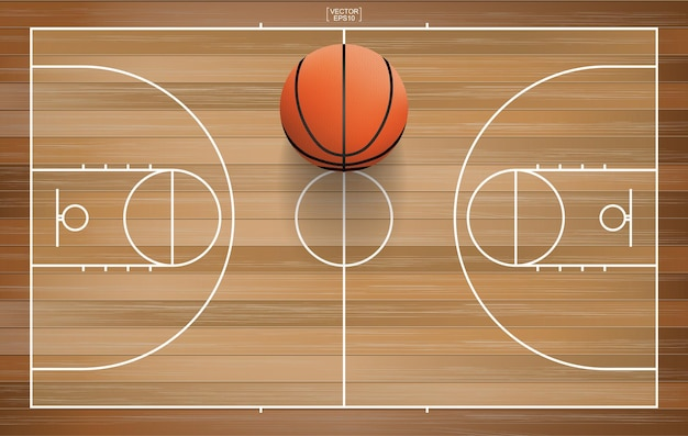 Sfera di pallacanestro nell'area del campo da basket. con fondo in legno. illustrazione vettoriale.