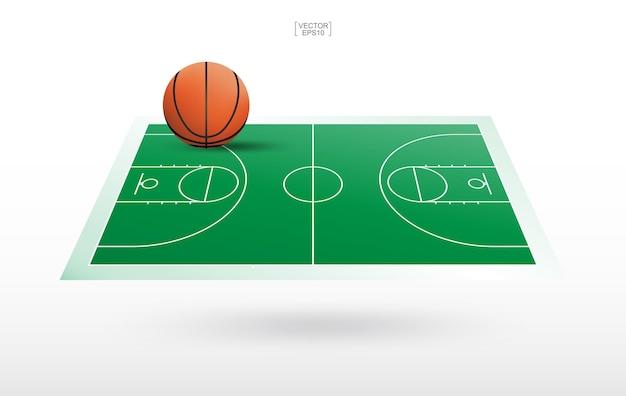 Sfera di pallacanestro e fondo del campo da pallacanestro con il modello della corte di linea. vista prospettica dello sfondo del campo da basket. illustrazione vettoriale.