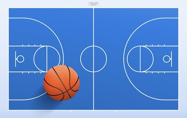 Sfera di pallacanestro e fondo del campo di pallacanestro. con la linea del motivo e l'area del campo. illustrazione vettoriale.