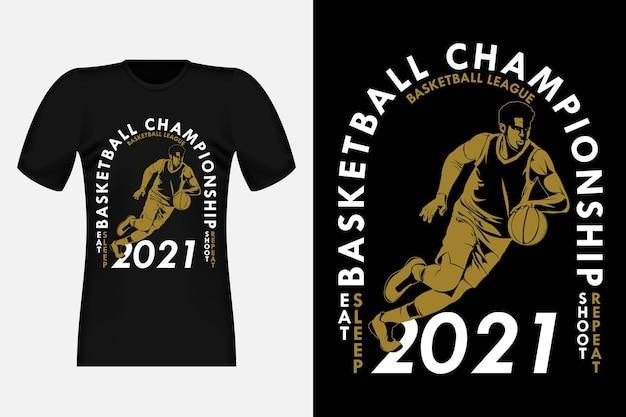 Design vintage per t-shirt con sagoma di campionato di basket di campionato di basket