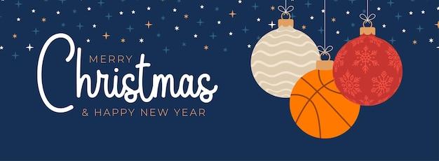 Cartolina d'auguri di natale di basket. buon natale e felice anno nuovo fumetto piatto sport banner. palla da basket come una palla di natale sullo sfondo. illustrazione vettoriale.