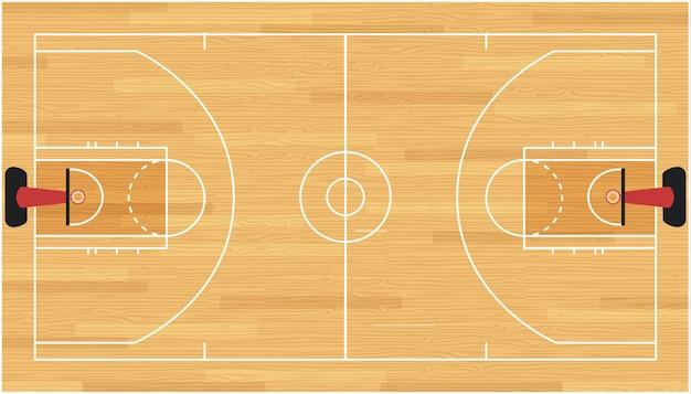 Pavimento del campo da basket con struttura in legno. illustrazione.