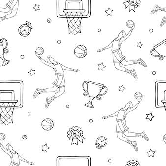 Concetto di doodle di basket. modello senza cuciture degli oggetti e dei simboli disegnati a mano di pallacanestro.