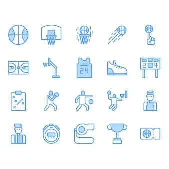 Insieme dell'icona di attrezzature e attività di basket