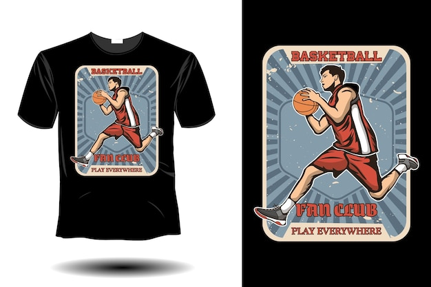 Il fan club di basket gioca ovunque mockup design vintage retrò