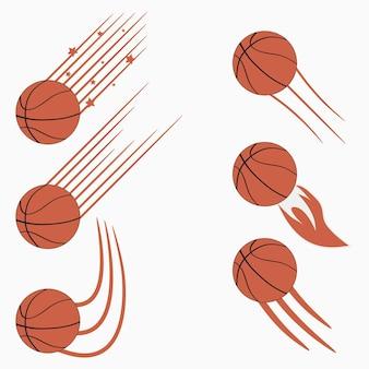 Palloni volanti da basket con percorsi di movimento rapido design grafico per logo sportivo