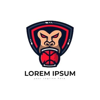 Logo di gorilla di pallacanestro