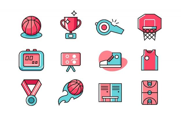 Insieme dell'icona di pallacanestro