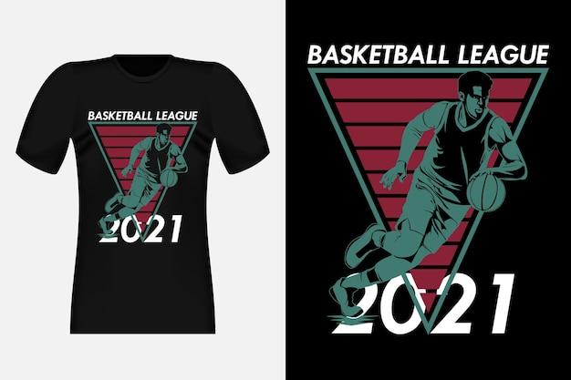 Illustrazione di progettazione della maglietta dell'annata della siluetta della lega di pallacanestro