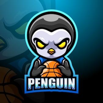 Illustrazione della mascotte del pinguino di pallacanestro