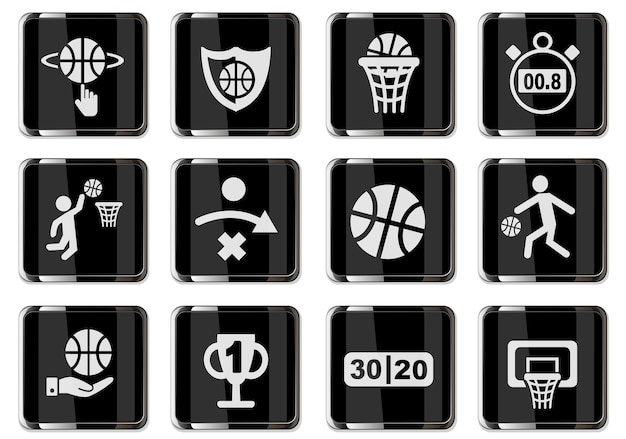 Pittogrammi di basket in bottoni cromati neri. set di icone per il tuo design. icone vettoriali