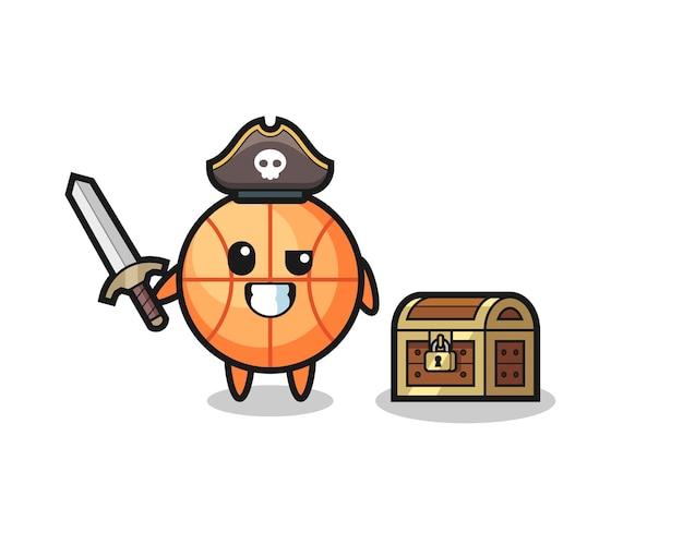 Il personaggio del pirata del basket che tiene la spada accanto a una scatola del tesoro, design in stile carino per maglietta, adesivo, elemento logo