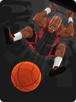 Giocatore di basket facendo slam dunk