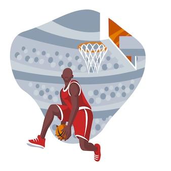 Illustrazione piana di progettazione del giocatore di pallacanestro Vettore Premium