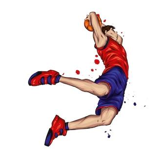 Giocatore di basket che salta con la palla