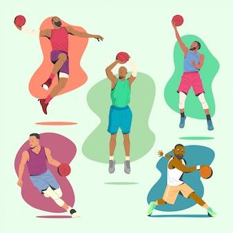 Il giocatore di pallacanestro sposta la collezione di illustrazione.