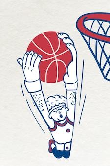 Vettore di tiro del giocatore di basket