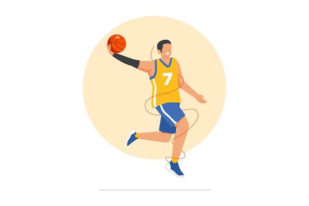 Illustrazione vettoriale di giocatore di basket