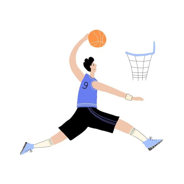 Giocatore di basket con palla. poster del campionato di basket maschile, banner sportivo
