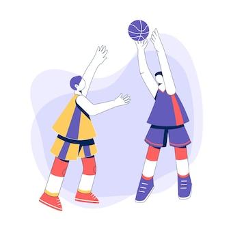 Giocatori di basket. ragazzi che giocano con la palla.