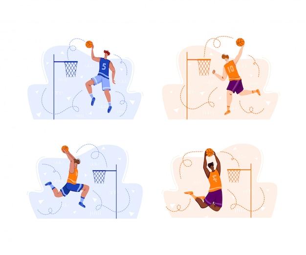 Giocatori di pallacanestro che saltano con la palla sul campo da giuoco di sport, uomini atletici muscolari o sportivi in uniforme