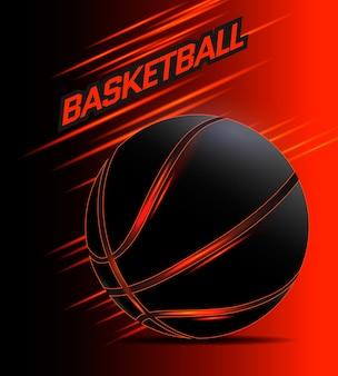 Poster di basket con palla nera incandescente. illustrazione vettoriale