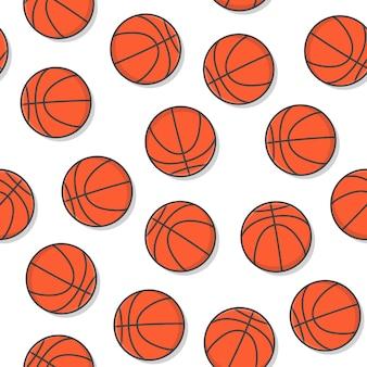 Seamless pattern di pallacanestro su uno sfondo bianco. illustrazione di vettore dell'icona di pallacanestro