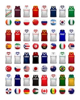 Magliette da basket. collezione di magliette e bandiere delle squadre nazionali.