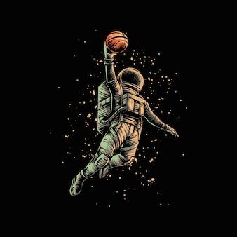 Astronauta del colpo di pallacanestro isolato sul nero