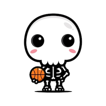 Disegno del personaggio del cranio di pallacanestro