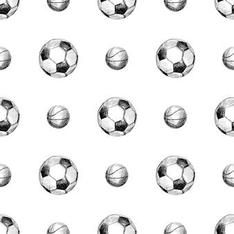 Pallacanestro e palloni da calcio cketch seamless pattern ehitr background