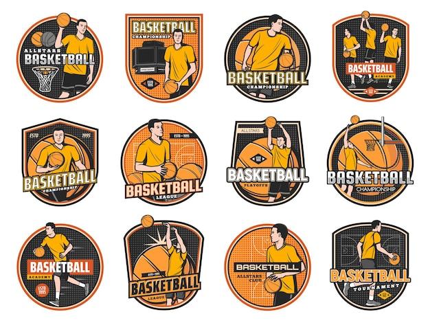 Icone del gioco di sport di pallacanestro, campionato, giocatori lanciano palline nel cerchio, squadra su stadio arena.